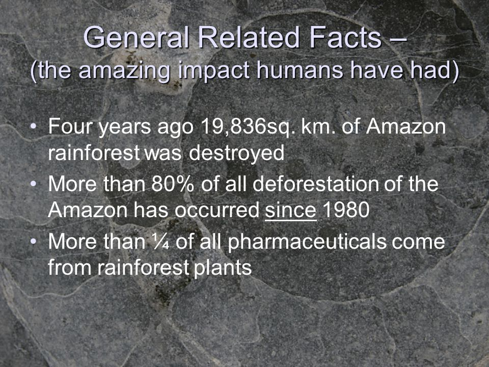 General Related Facts – (the amazing impact humans have had)