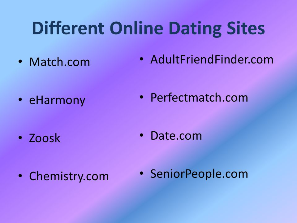 Different Online Dating Sites