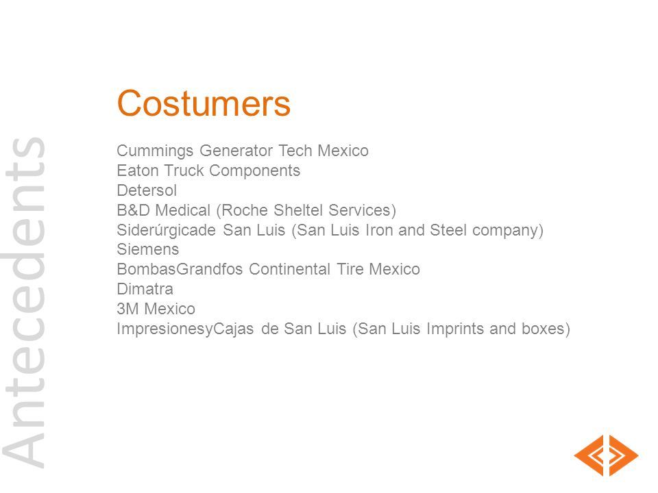 Antecedents Costumers Cummings Generator Tech Mexico