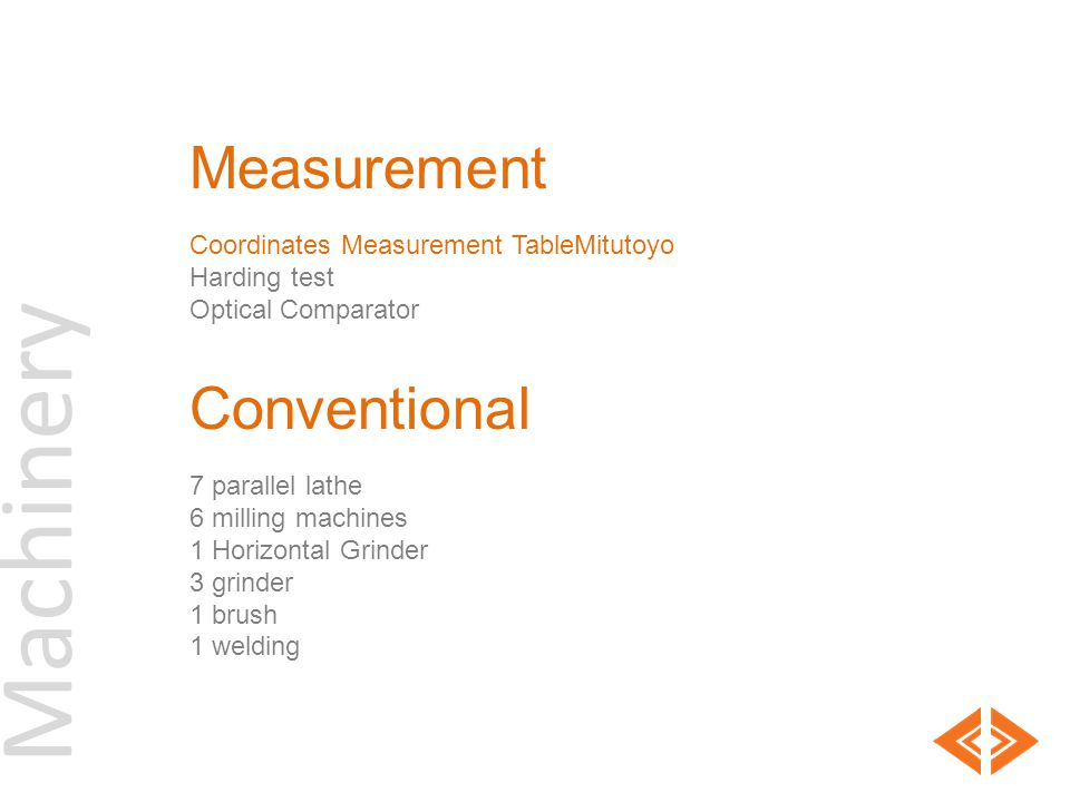 Machinery Measurement Conventional