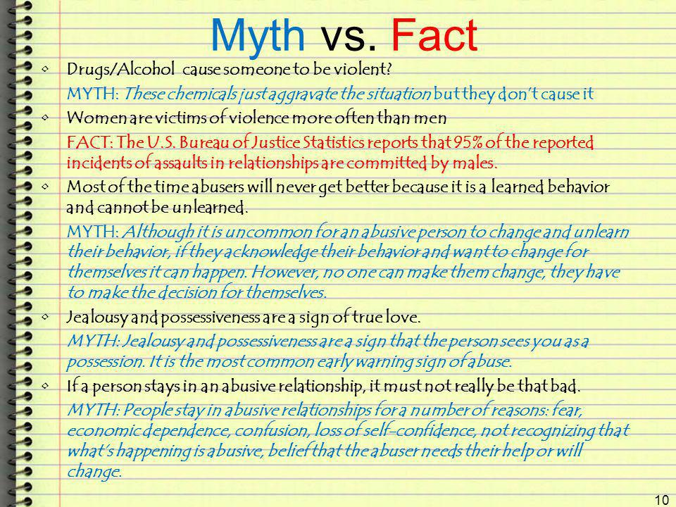 Myth vs. Fact Drugs/Alcohol cause someone to be violent