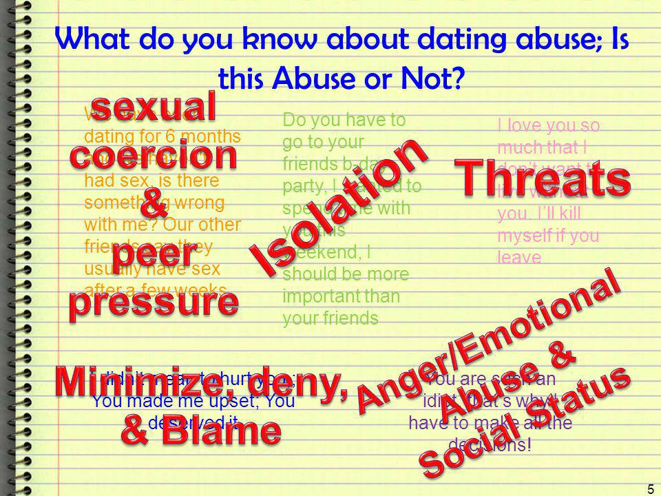 What do you know about dating abuse; Is this Abuse or Not