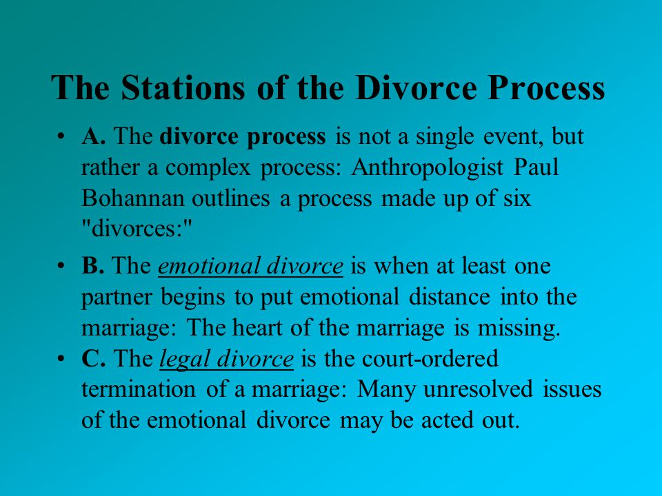 The Stations of the Divorce Process