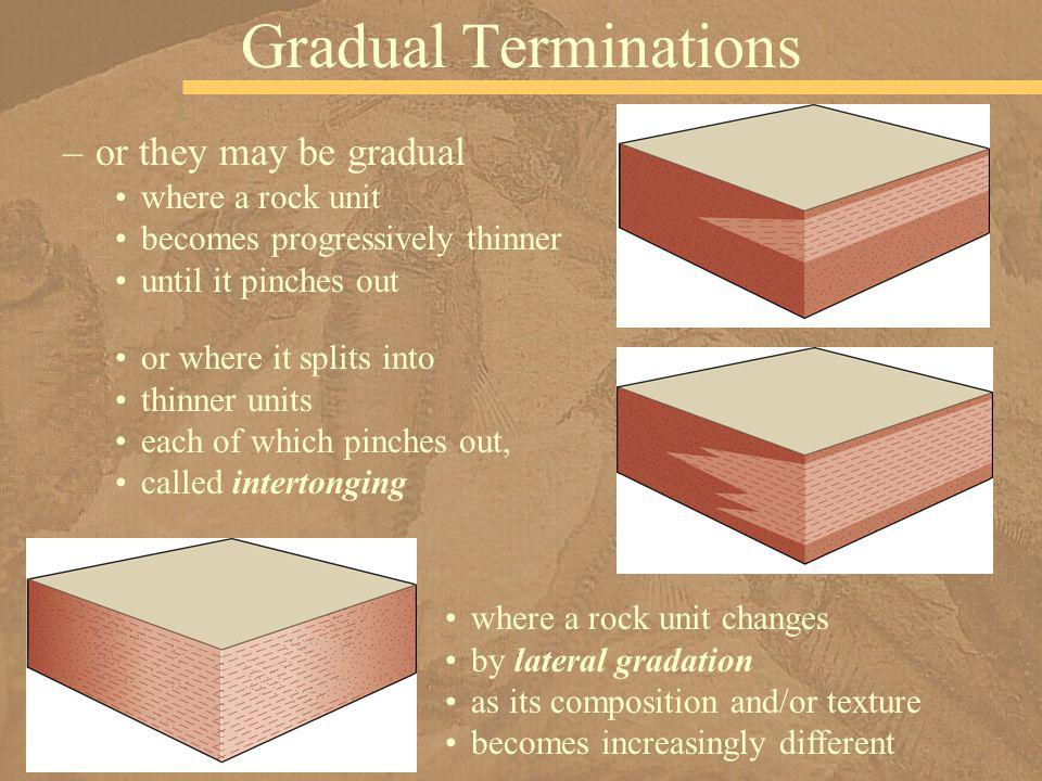 Gradual Terminations or they may be gradual where a rock unit