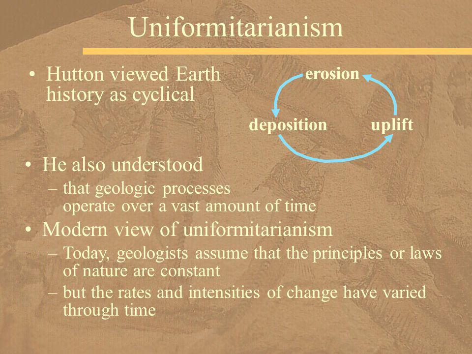 Uniformitarianism Hutton viewed Earth history as cyclical
