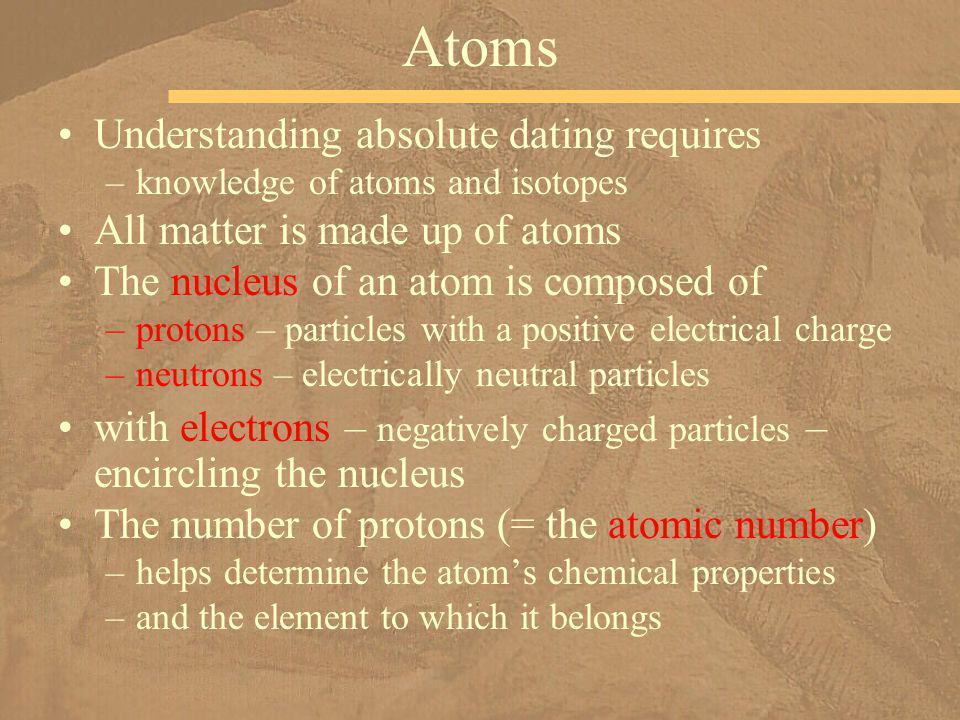 Atoms Understanding absolute dating requires