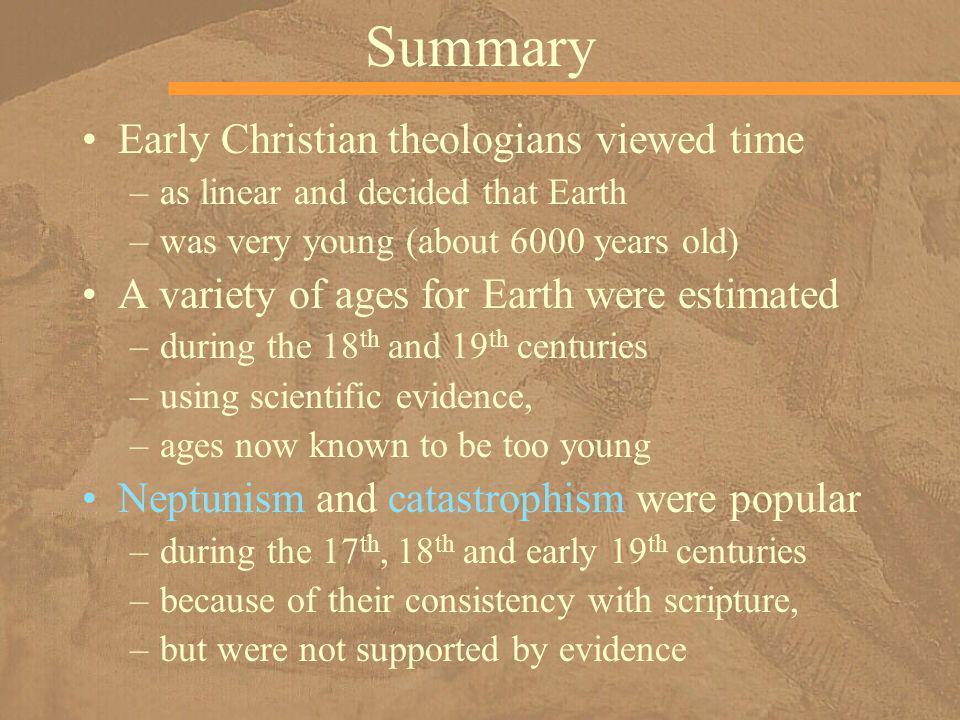 Summary Early Christian theologians viewed time
