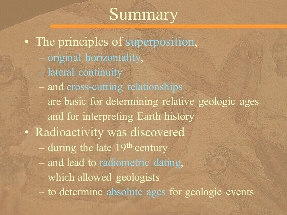 Summary The principles of superposition, Radioactivity was discovered