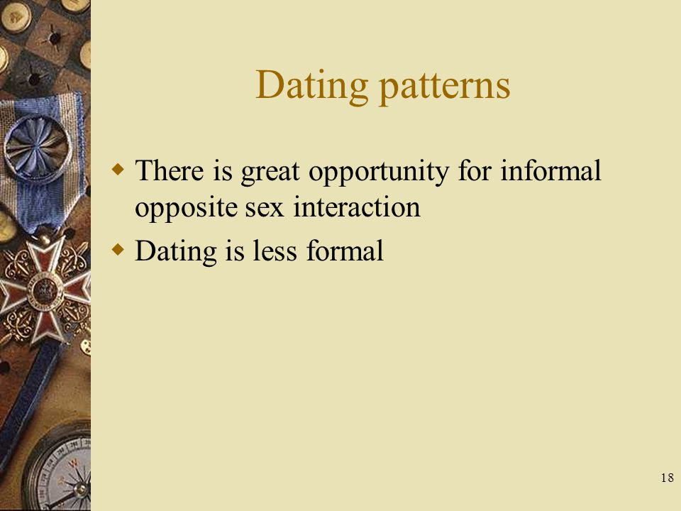 Dating patterns There is great opportunity for informal opposite sex interaction.