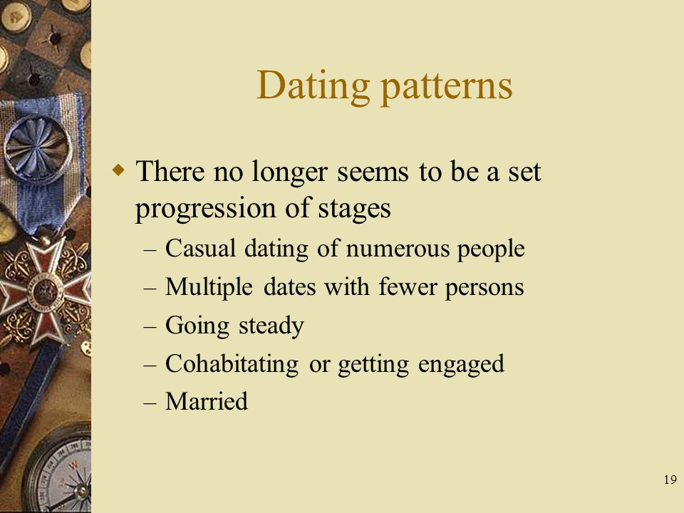 Dating patterns There no longer seems to be a set progression of stages. Casual dating of numerous people.