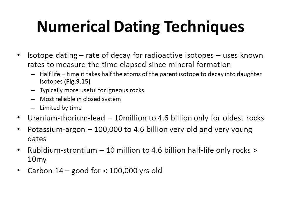 relative geologic dating and numerical