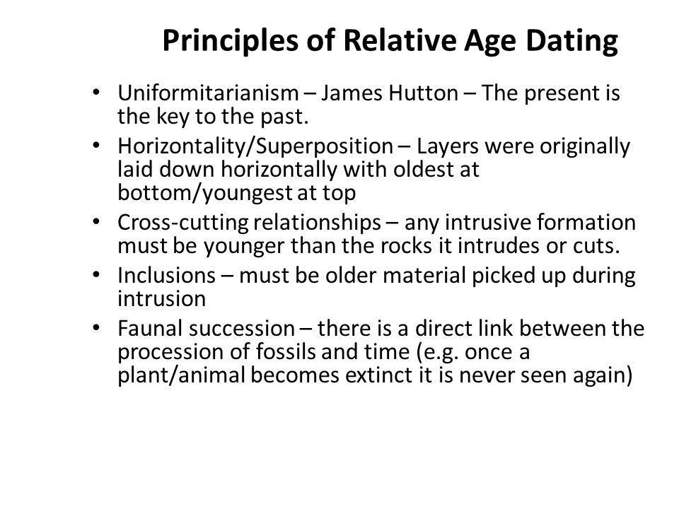 an analysis of the fundamental principles of relative dating Relative dating, cross cutting relationships, principle of superposition, principles of relative dating not sure what i'd do without @kibin - alfredo alvarez, student @ miami university.
