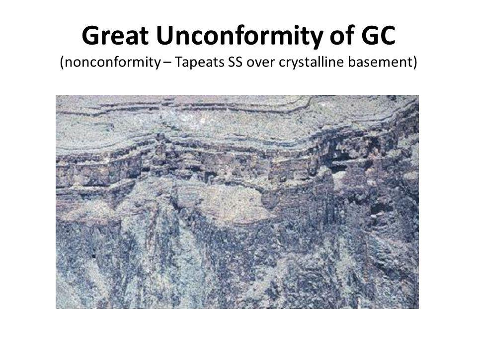 Great Unconformity of GC (nonconformity – Tapeats SS over crystalline basement)