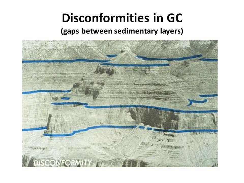 Disconformities in GC (gaps between sedimentary layers)
