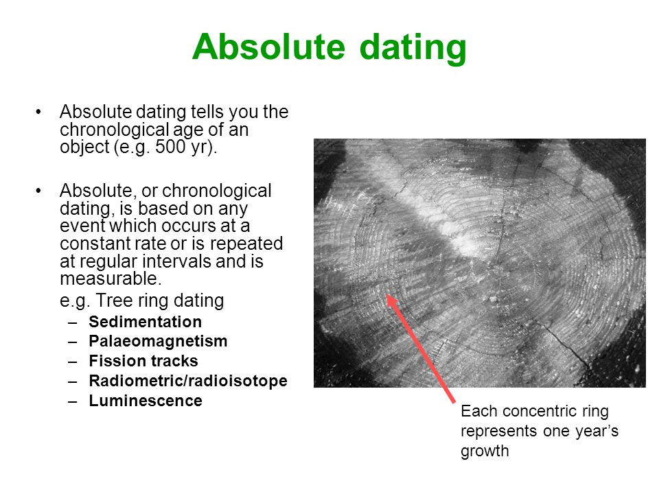 Absolute dating Absolute dating tells you the chronological age of an object (e.g. 500 yr).