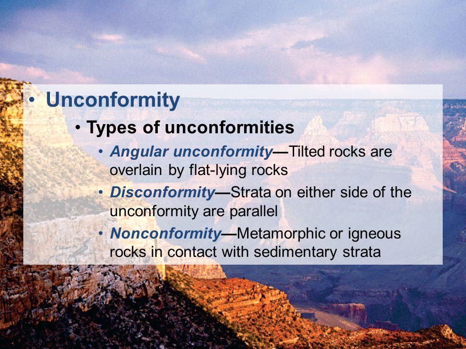 Unconformity Types of unconformities