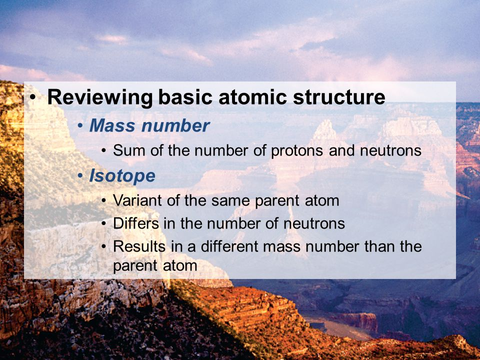 Reviewing basic atomic structure