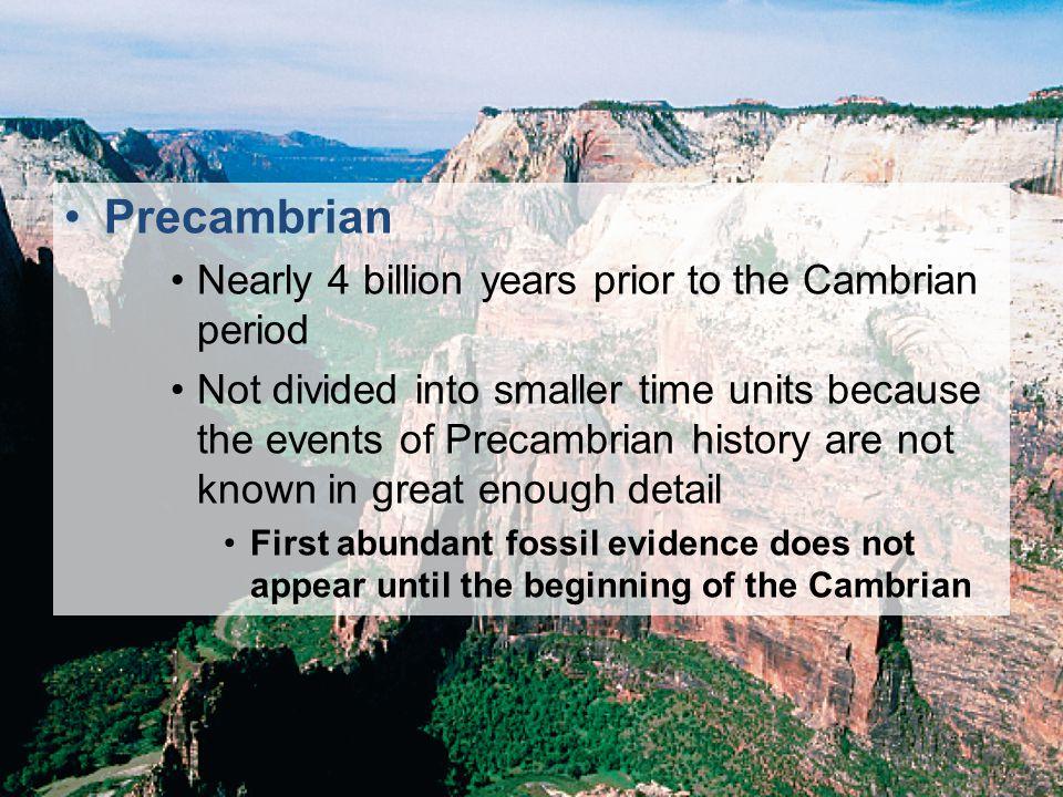 Precambrian Nearly 4 billion years prior to the Cambrian period