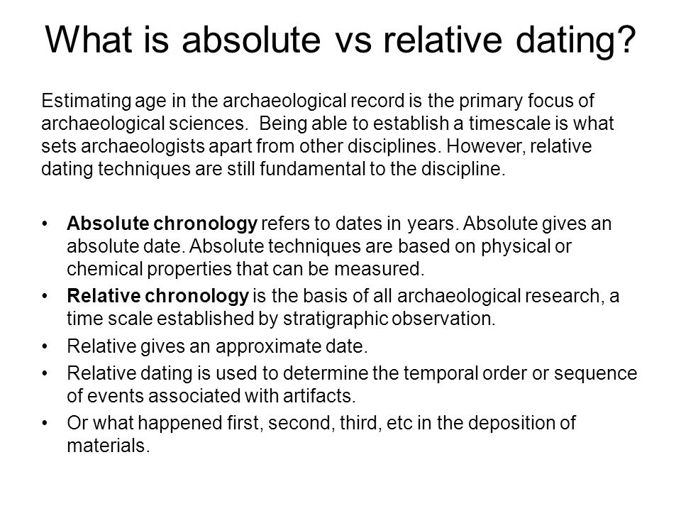 Absolute and relative dating anthropology terms