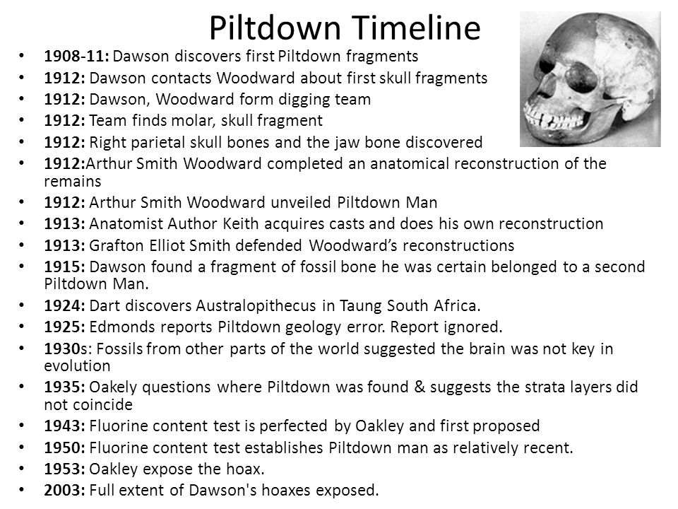 piltdown hoax dating technique In 1953, piltdown 'man' was exposed as a forgery  should remember that  methods of dating such things have greatly improved since 1910.