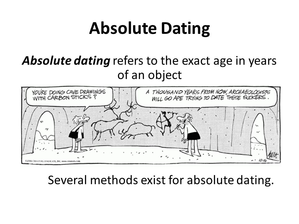 Absolute Dating Absolute dating refers to the exact age in years of an object Several methods exist for absolute dating.