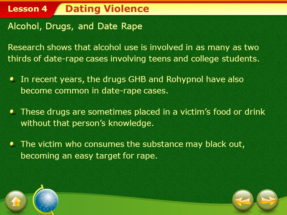 Dating Violence Alcohol, Drugs, and Date Rape