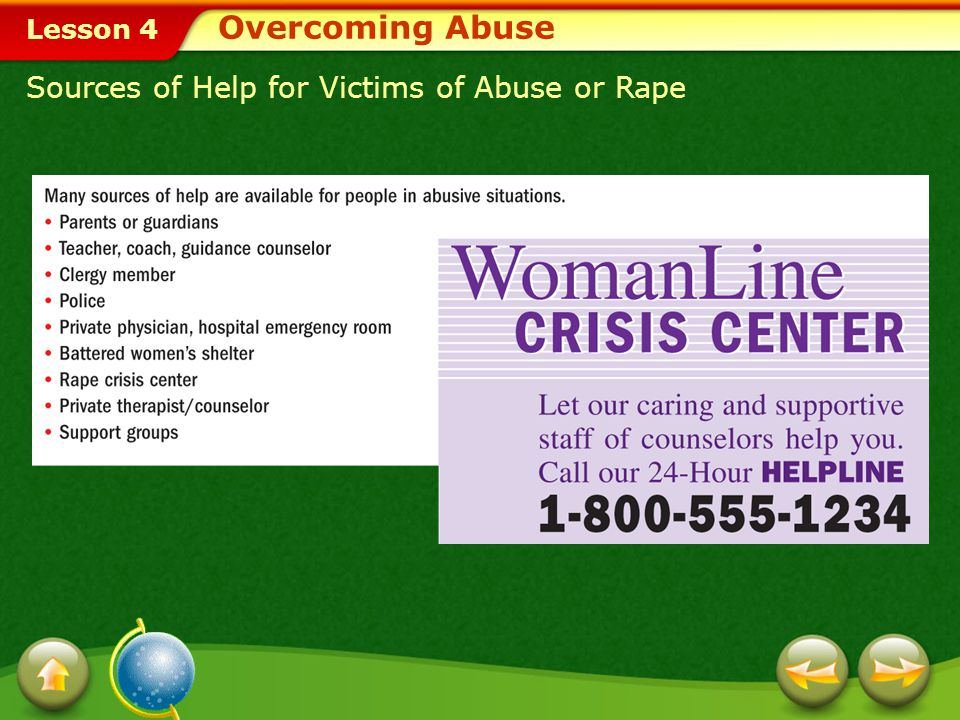 Overcoming Abuse Sources of Help for Victims of Abuse or Rape