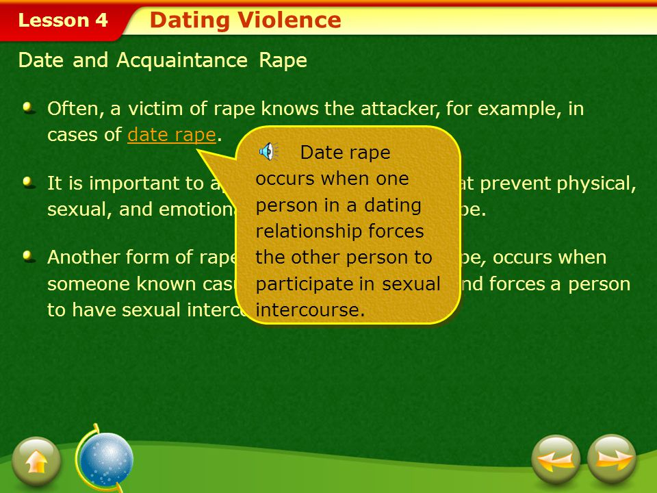 Dating Violence Date and Acquaintance Rape