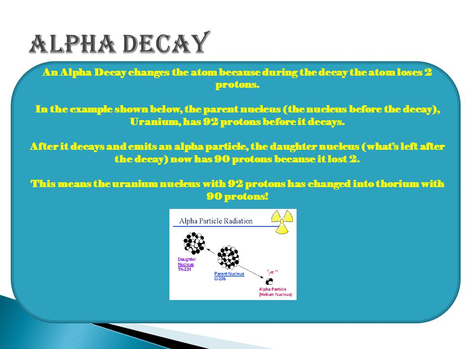 Alpha Decay An Alpha Decay changes the atom because during the decay the atom loses 2 protons.