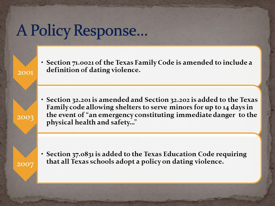 A Policy Response… 2001. Section 71.0021 of the Texas Family Code is amended to include a definition of dating violence.