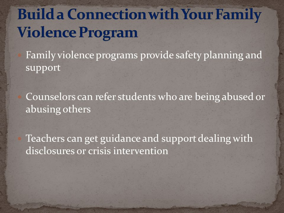 Build a Connection with Your Family Violence Program