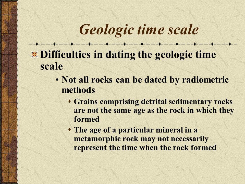 Geologic time scale Difficulties in dating the geologic time scale