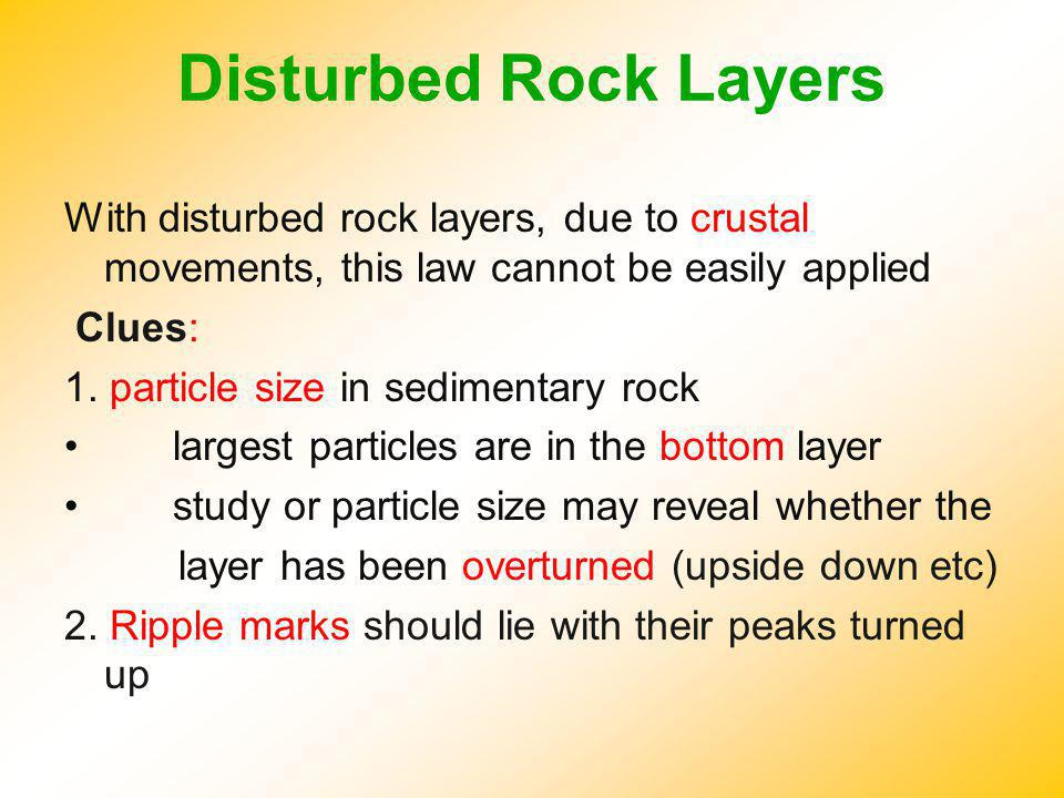 Disturbed Rock Layers With disturbed rock layers, due to crustal movements, this law cannot be easily applied.