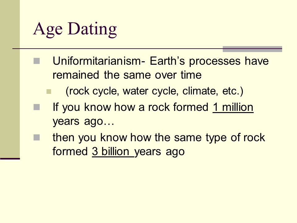 Age Dating Uniformitarianism- Earth's processes have remained the same over time. (rock cycle, water cycle, climate, etc.)