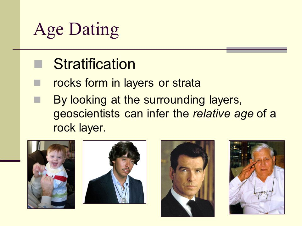 Age Dating Stratification rocks form in layers or strata