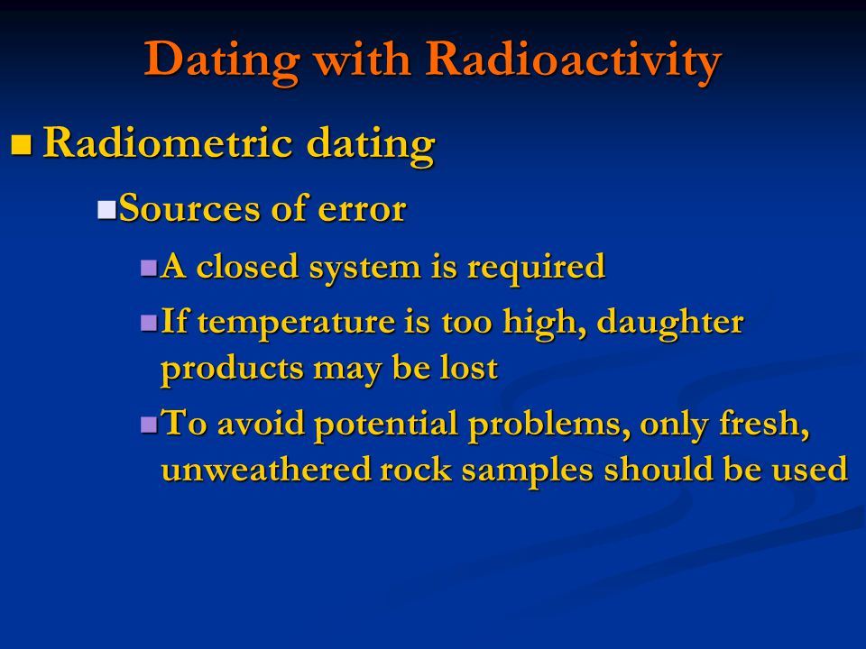 Radioactive dating of rock samples