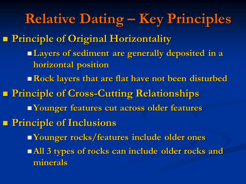 Which of the following principles are key to relative dating