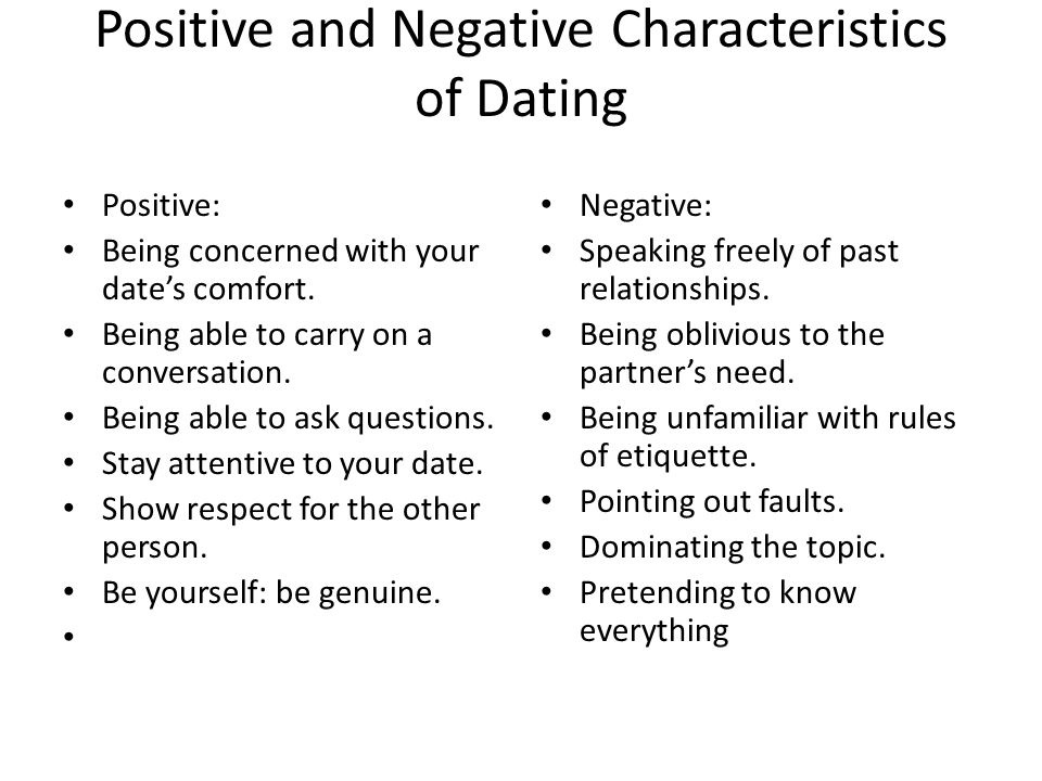 Positive and Negative Characteristics of Dating