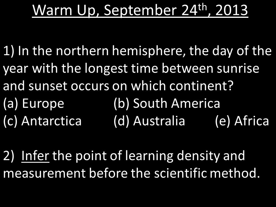 Warm Up, September 24th, 2013