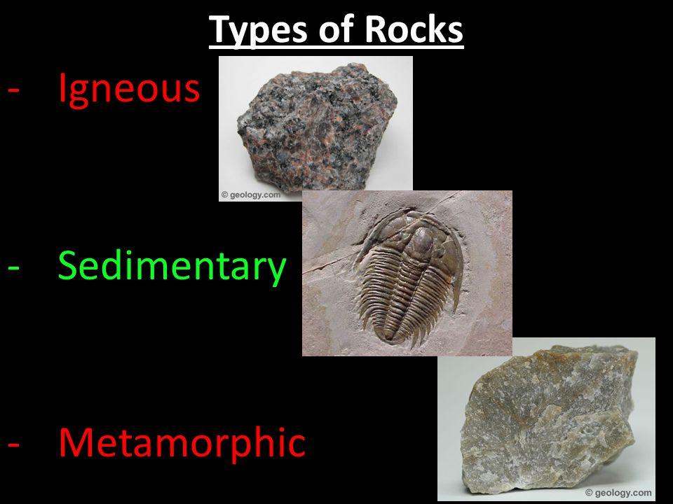 Igneous Sedimentary Metamorphic