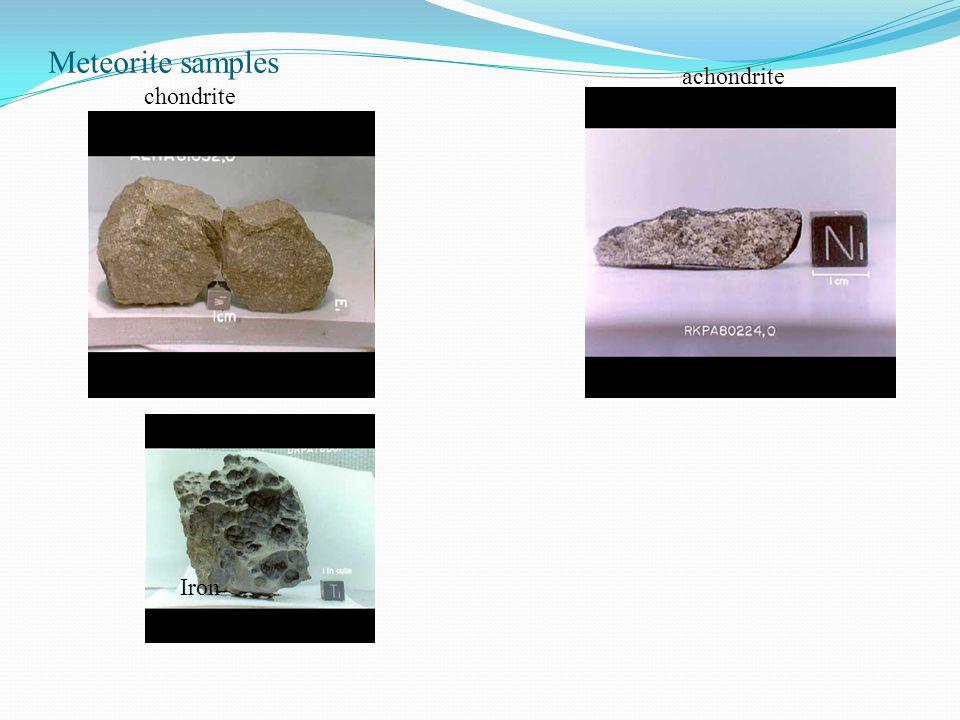 Meteorite samples achondrite chondrite Iron