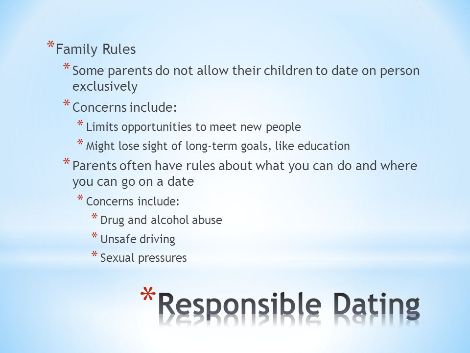 Responsible Dating Family Rules