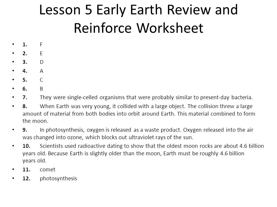 Lesson 5 Early Earth Review and Reinforce Worksheet