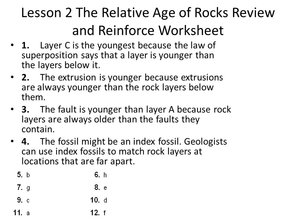 Lesson 2 The Relative Age of Rocks Review and Reinforce Worksheet