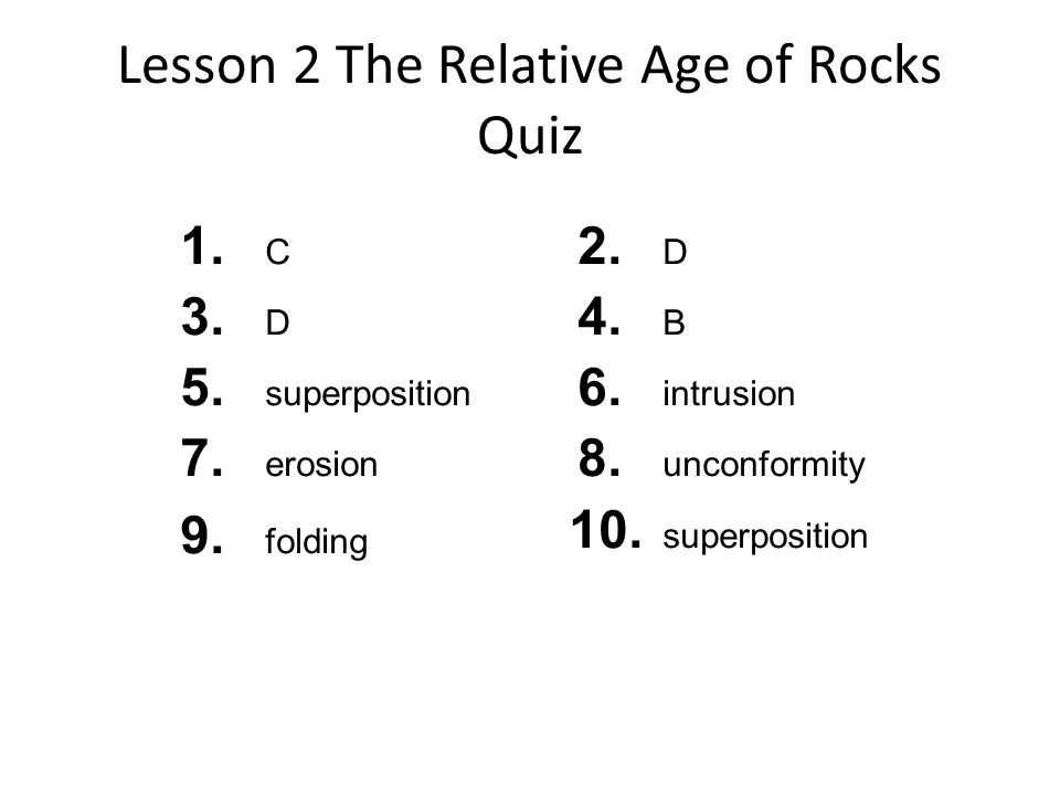 Relative Age Dating Lesson Outline Answer Key