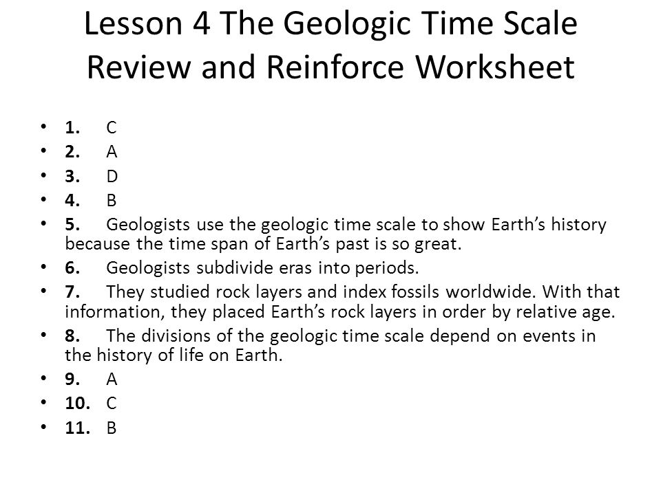 Lesson 4 The Geologic Time Scale Review and Reinforce Worksheet