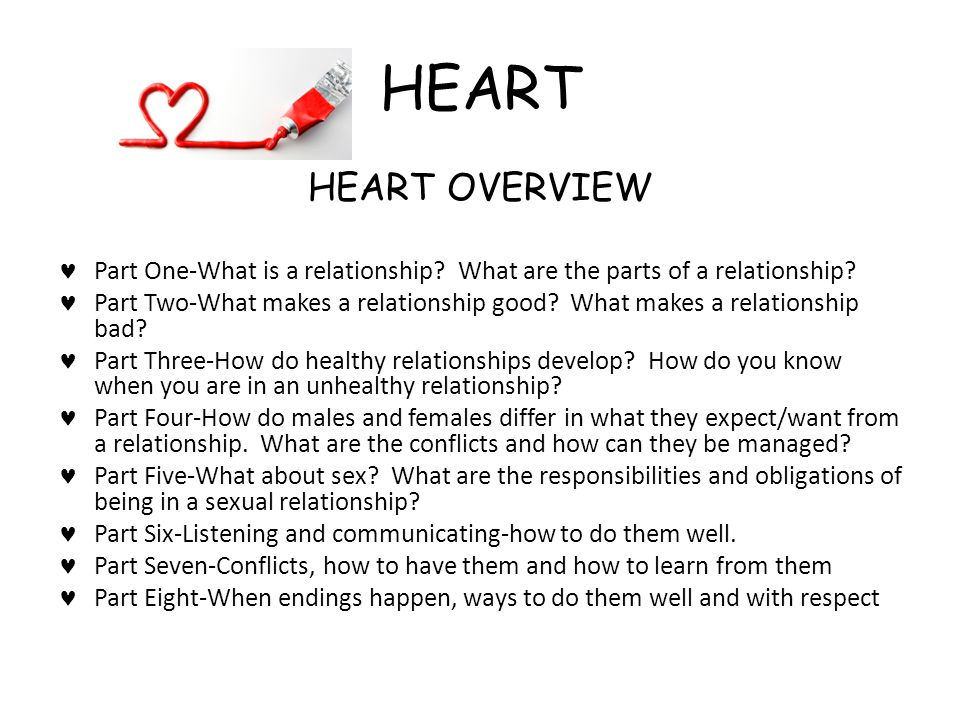 HEART HEART OVERVIEW. Part One-What is a relationship What are the parts of a relationship