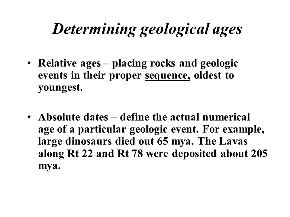 Determining geological ages