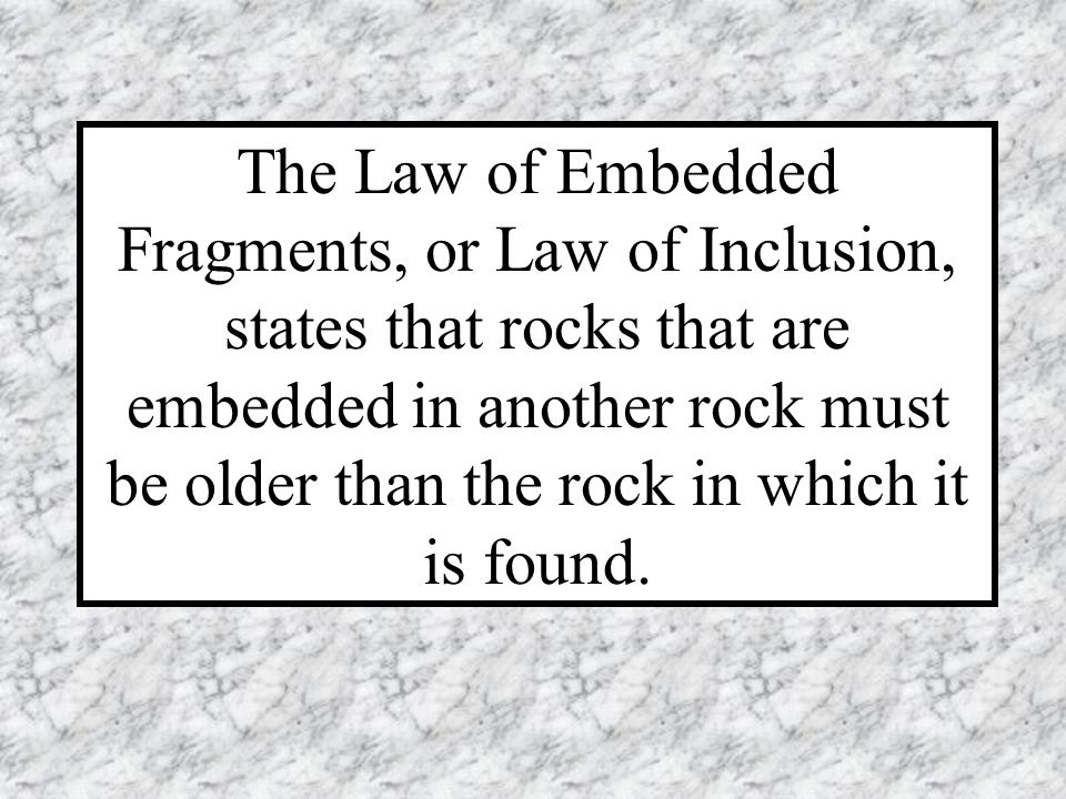 The Law of Embedded Fragments, or Law of Inclusion, states that rocks that are embedded in another rock must be older than the rock in which it is found.