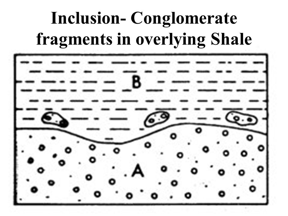 Inclusion- Conglomerate fragments in overlying Shale